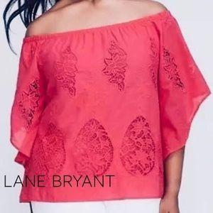 Lane Bryant coral pink off the shoulder sz 22/24